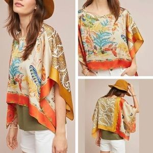 TINY ANTHRO NWT BUTTERFLY SILKY PONCHO BLOUSE